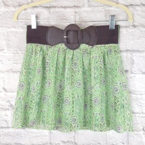 Forever 21 Green Floral Belted Skirt XS
